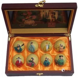 保定首宝中国瑰宝铁球健身球彩绘手绘八仙拜寿(高档木盒)