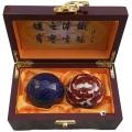 高档木盒蓝色金牡丹景泰蓝保健球