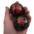 黑色福如东海,寿比南山祝寿景泰蓝保健球
