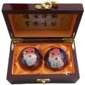 金色寿星景泰蓝健身球高档木盒装